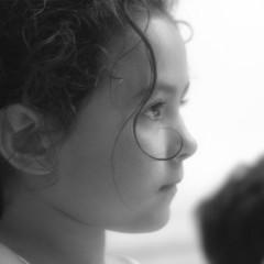 Candid black and white child portrait