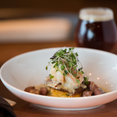 Chicago craft beer with meal food photography