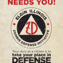 Elgin nightmare on Chicago Street zombie defense logo design by Adam Flikkema