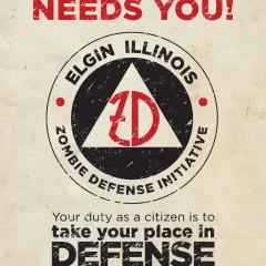 Elgin nightmare on Chicago Street zombie defense logo design by Adam Flikkema