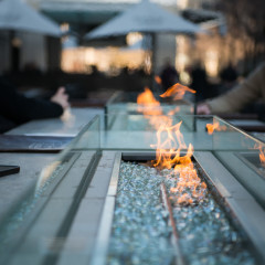 Howells and Hood fire tables restaurant photography