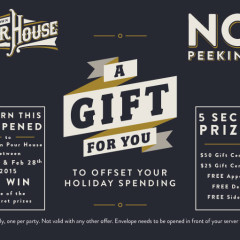 Old Town Pour House Chicago no peeking promo envelope graphic design