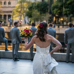 bridal party chicago river wedding photo