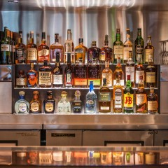 liquor shelf at a chicago restaurant