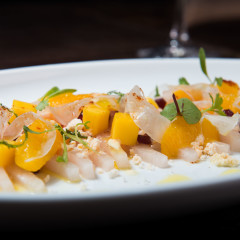 mango and seafood salad photography at a Chicago restaurant